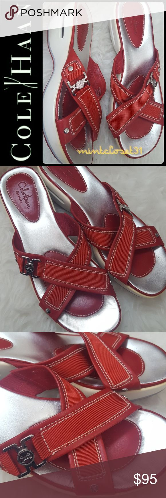 Cole Haan Leather Sandal Wedge Cole Haan Signature Shoes in Gorgeous Leather Upper Sandal Wedge about 2 Inches! Beautiful in Red and Silver! Iconic Cole Haan with US Patent Nike Air technology for Maximum Comfort!!   Cross Strap Details on Vamp! Tonal and Contrast Stitching with Slightly Padded footbed! Rubber Outsole for Comfort and Grip! Top Notch Quality to Last a Lifetime! Barely Used in  Mint Condition! Size US 8 1/2 B Cole Haan Shoes Sandals