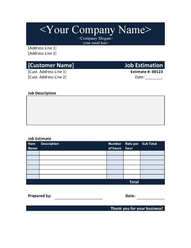 Job Estimate in Word - Free Estimate and Proposal Template by Hloom.com