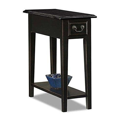 Country Style Narrow Nightstand Rectangle Wooden Black