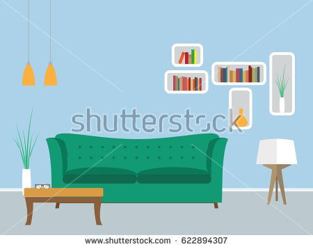 Living room flat interior design with furniture - Vector illustration