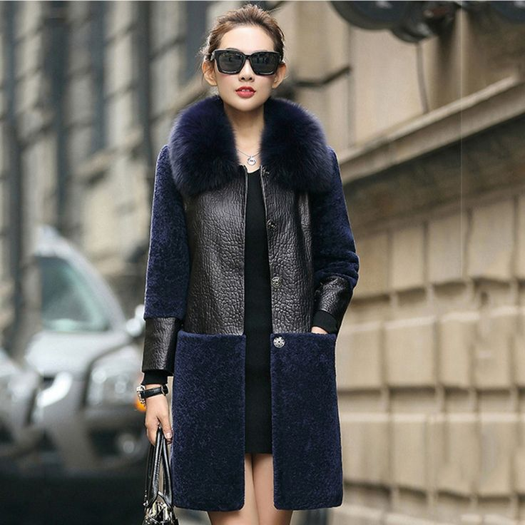 LOVE this coat! Navy Shearling & Black Leather.