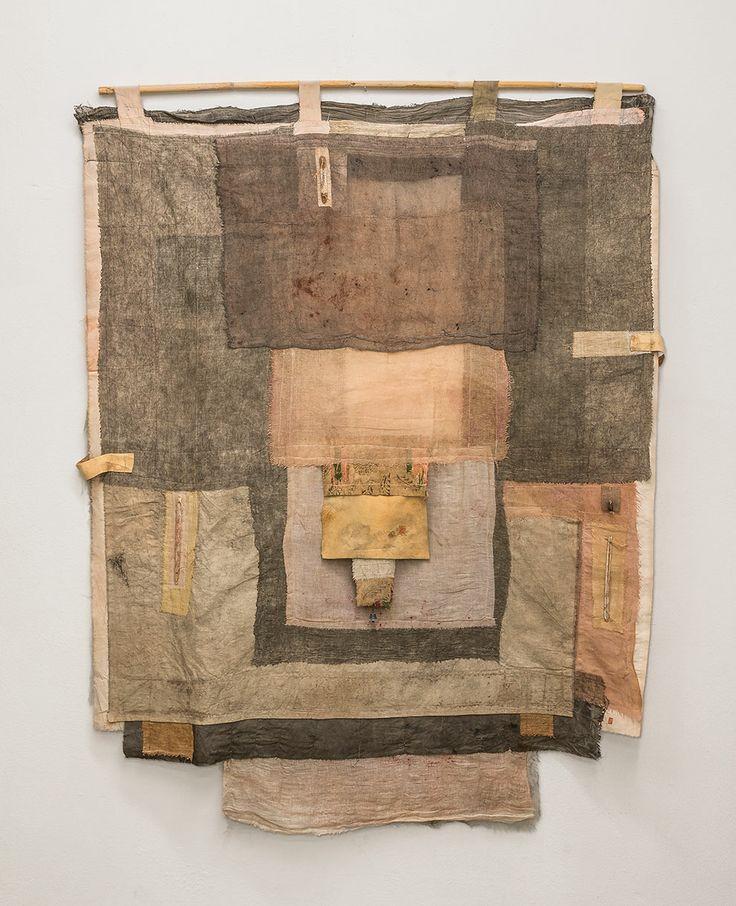 "irini gonou, ""apotropaic cloth I"", cotton fabric, leather, reed, tinny bell, 120X100"