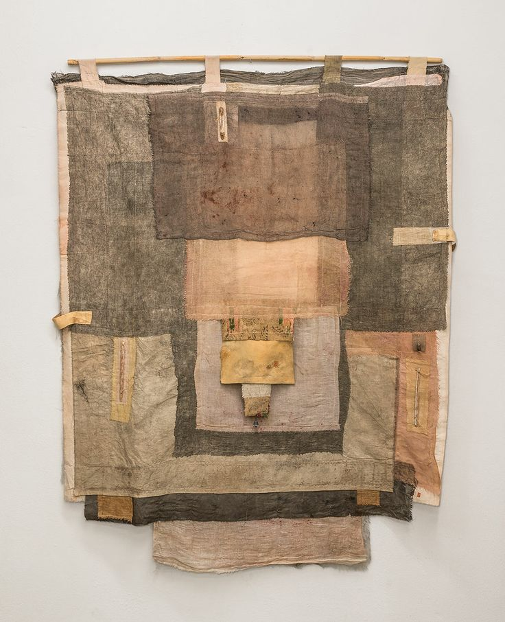 "irini gonou, ""apotropaic cloth I"", cotton fabric, leather, reed, tinny bell, 120X100"
