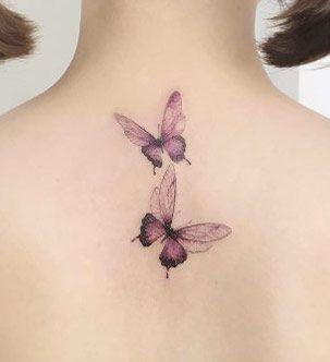Butterflies on back by Flower