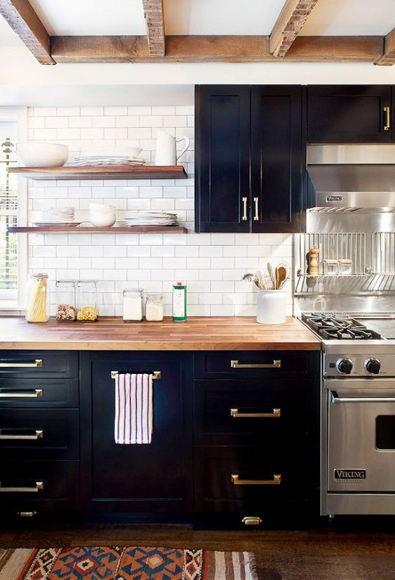 Dark Kitchen Cabinets With Open Shelves And Brass Hardware. By AislingH