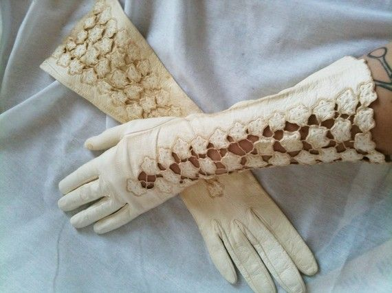 Vintage Ivory Leather Delicate Lace Spring Gloves Sweet ...