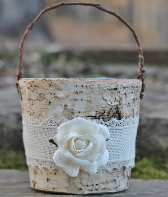 Birch Bark Rustic Flower Girl Basket Burlap Lace and A Paper Rose via Etsy