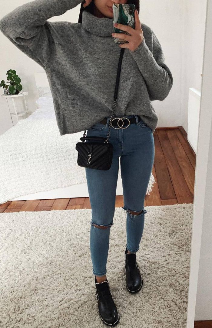 tolles Outfit für winter_cashmere Pullover Jeansstiefel