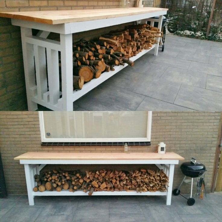 Home made by me. Outdoor table and wood storage