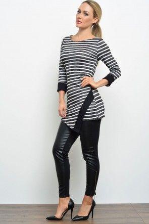 Sue Striped Top in Black and White