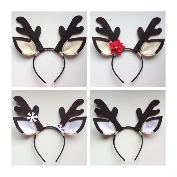 Holiday Reindeer Antlers Reindeer headband Holiday Party/Headband  -lightweight -flexible -thin black headband -made of felt  Two different colors