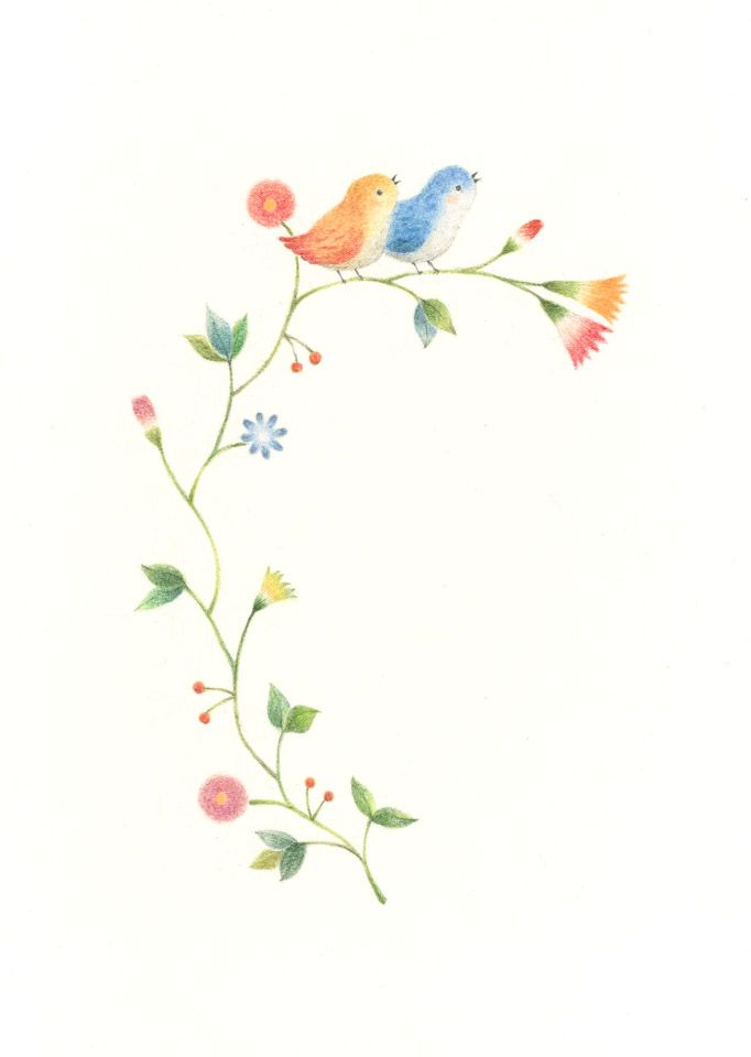 """Little Orange Bird and Little Blue Bird on Flowers"" −RiLi, picture book…"