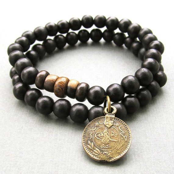 Herren Doppel schwarz Holz Perlen Stretch Armbänder mit von lowusu
