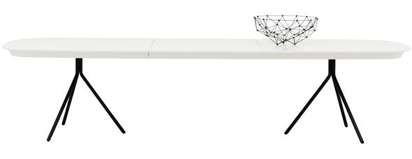 Ottawa table with supplementary tabletop, the product is available in different sizes and colours. As shown, matt white lacquered/matt black structure lacquered. H74½xW240/327xD100cm. [Ottawa - OV03]  Article no.: 3700075OV03CCCC  $3,199  Extendable Dining Tables, Modern Dining Room Furniture Sydney - BoConcept Furniture Crows Nest Moore Park in Sydney Australia.