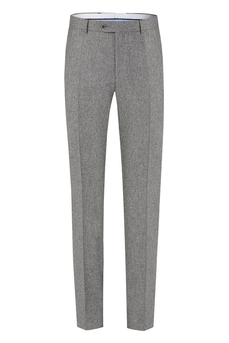 Benevento Wool Flannel trousers, 100%Wool 100'S Vitale Barberis Canonico Flannel in Medium Grey