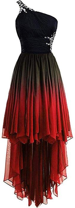 HEAR Women's Ombre One-Shoulder Crystals Homecoming Gown Hi-Lo Gradient Backless Chiffon Prom Dresses Hear215 Red9 16 at Amazon Women's Clothing store: