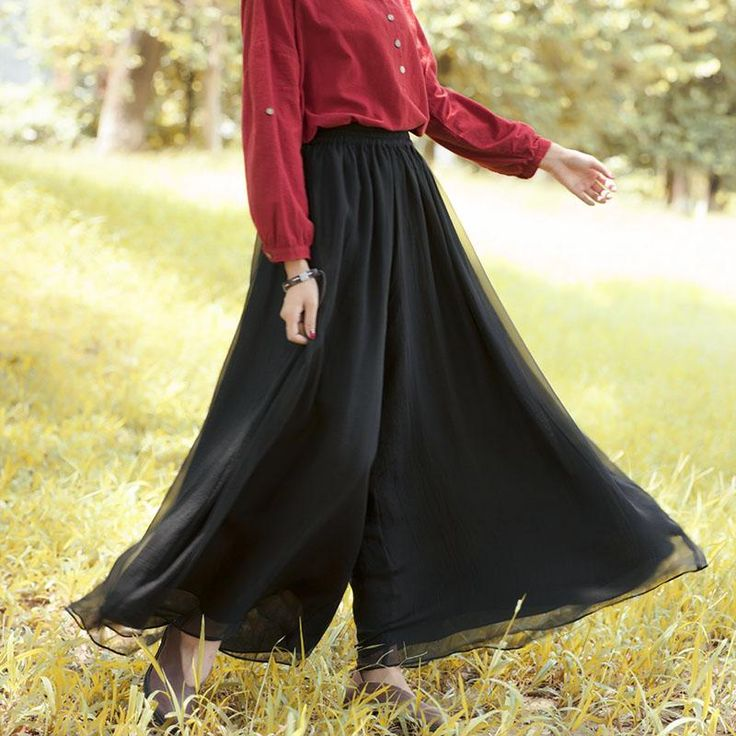Women Literature Ankle-Length Solid Black Wide Leg Chiffon Pants