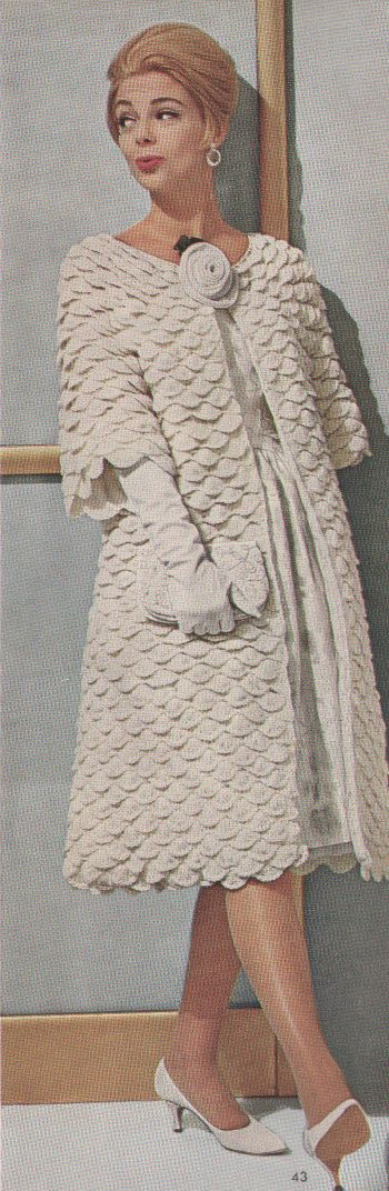 Vintage 1960s Crochet Shell Evening Coat Pattern PDF by cemetarian