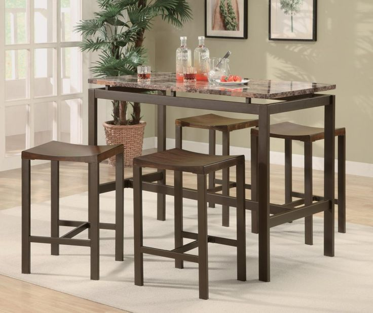 Minimalist Marble Dining Table Counter Height Set By True Contemporary