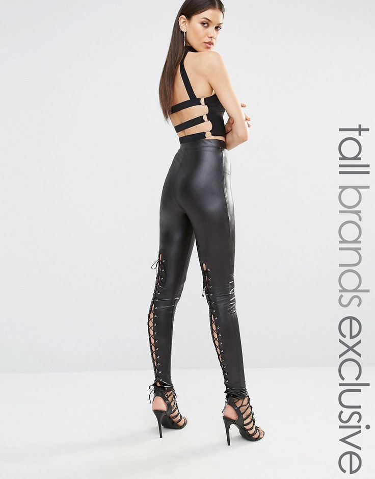 Naanaa+Tall+Faux+Extreme+Leather+Lace+Up+Trousers
