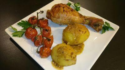 Pulpe de pui cu cartofi la cuptor - Retete Culinare