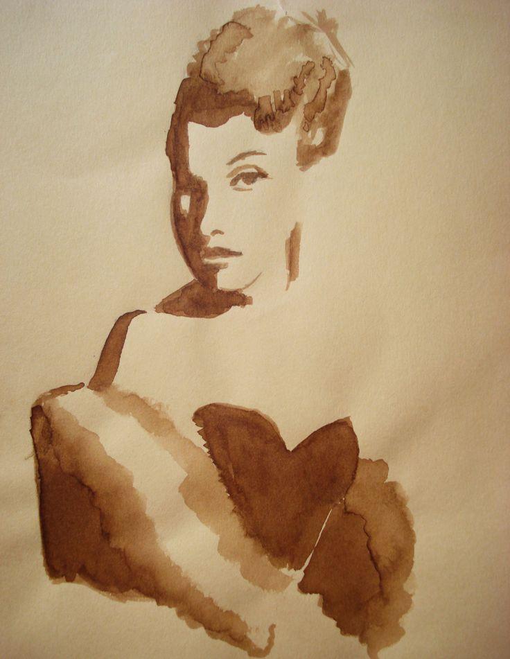 ritratto donna 1950 - mordente color noce scuro, su carta gialla