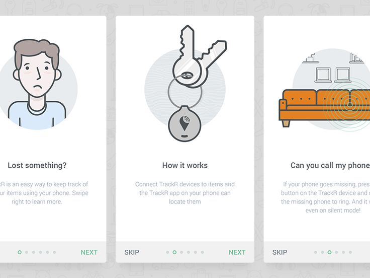 TrackR Onboarding Screens | Illustration design in mobile user interface #UI Design