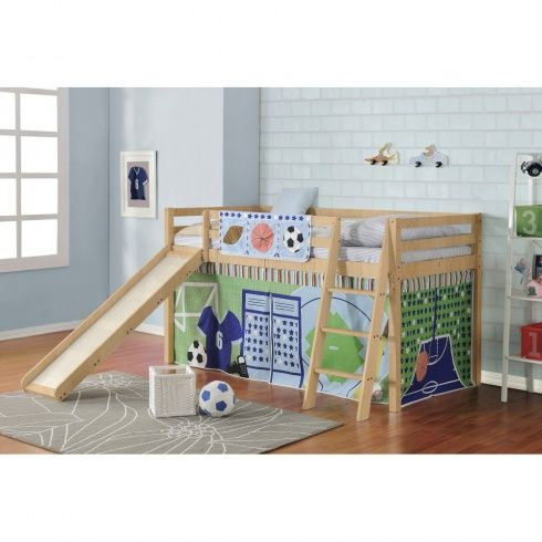 Sports Cabin Bed with Slide and Tent - Transform your little sports star's bedroom with the awesome Sports Cabin Bed.  Combining a quality solid wood mid sleeper with the multi-games tent, this sporty cabin bed is the perfect place to play whilst giving the opportunity to clear away your little player of the day's clutter. #home #children #furniture