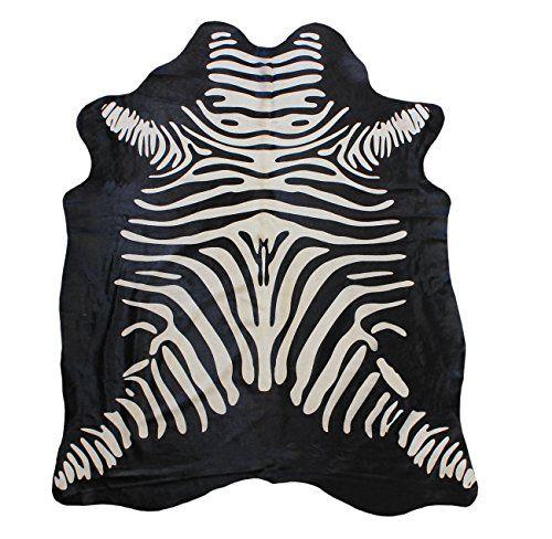 Kuhfell teppich Schwarz mit zebra prägung Tapis en Peau d...…