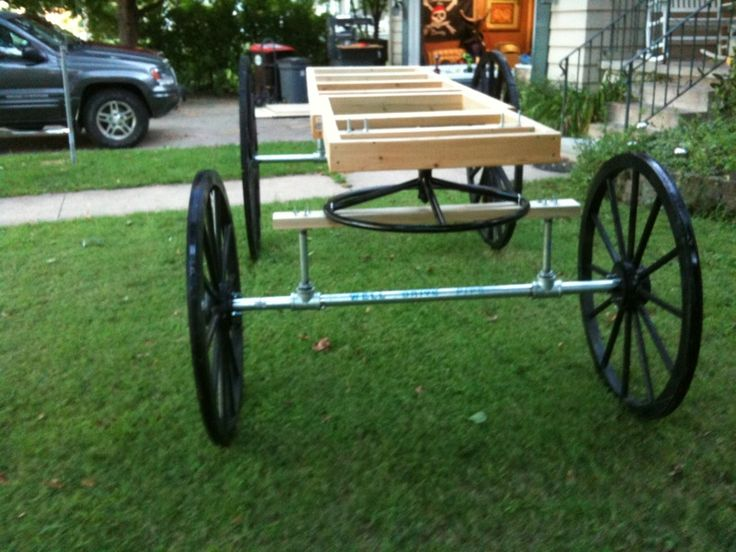 Halloween forum posted a picture highlighting how they used plumbing pipe an flanges for his axles.  They com ein 5 foot lengths, which is typically teh axle lenthof hte horse drawn hearse.