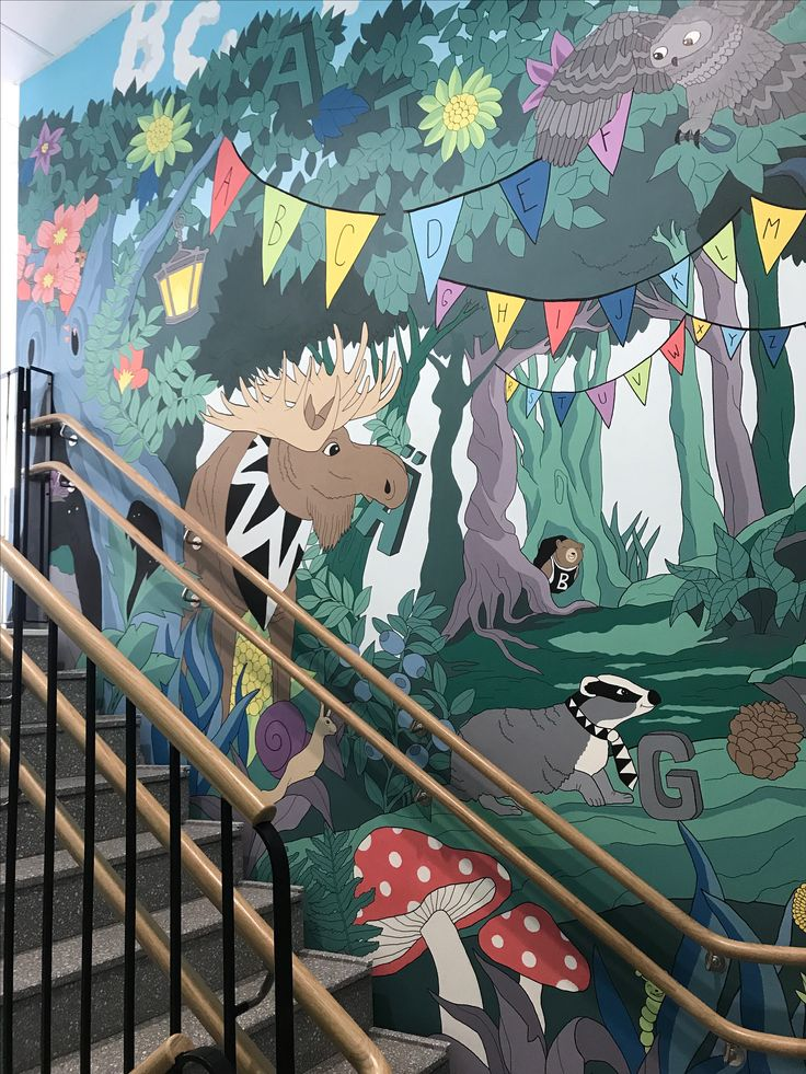 Wallpainting kids forest animals