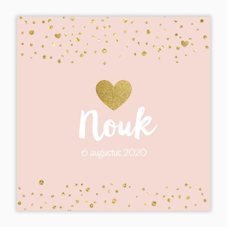 Gouden confetti en een romantisch hartje: dit lieve geboortekaartje is niet voor niets zo populair! #goud #trend #geboortekaartje #birthannouncement