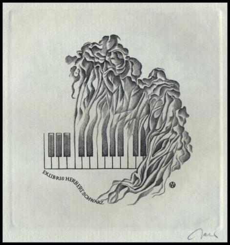 Jakubowski-Wojciech-C2-Exlibris-1984-Music-Musik-Piano-Keys-Klavier-586