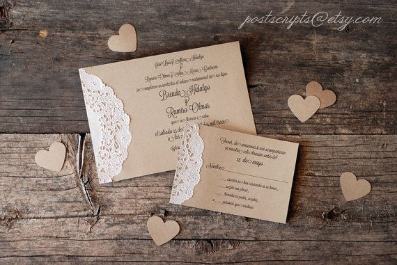 Custom Vintage Lace Doily Wedding Invitations - also Burlap and Lace Rustic Bridal or Baby Shower