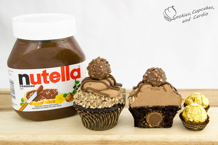 Ferraro Rocher Cupcakes with Nutella Buttercream Frosting!! Holy Crap I want to lick my screen now.