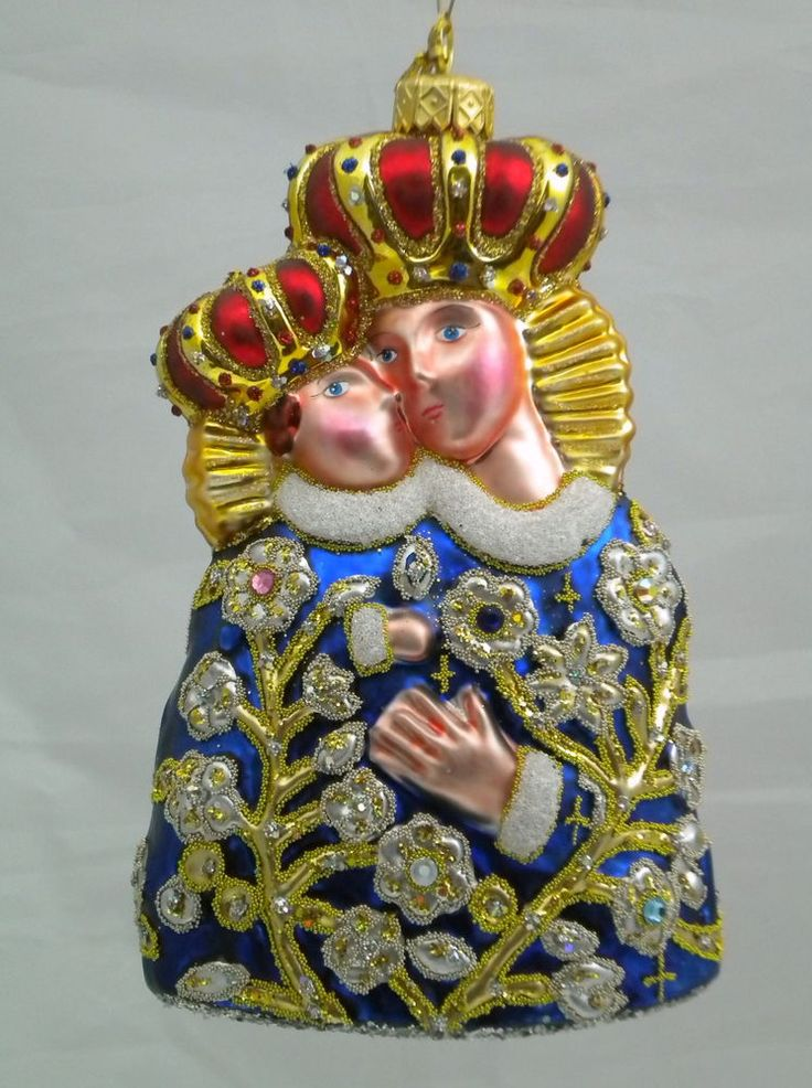 """Edward Bar OUR LADY OF CALVARY 6.10"""" glass Christmas Ornament Hand-made"""