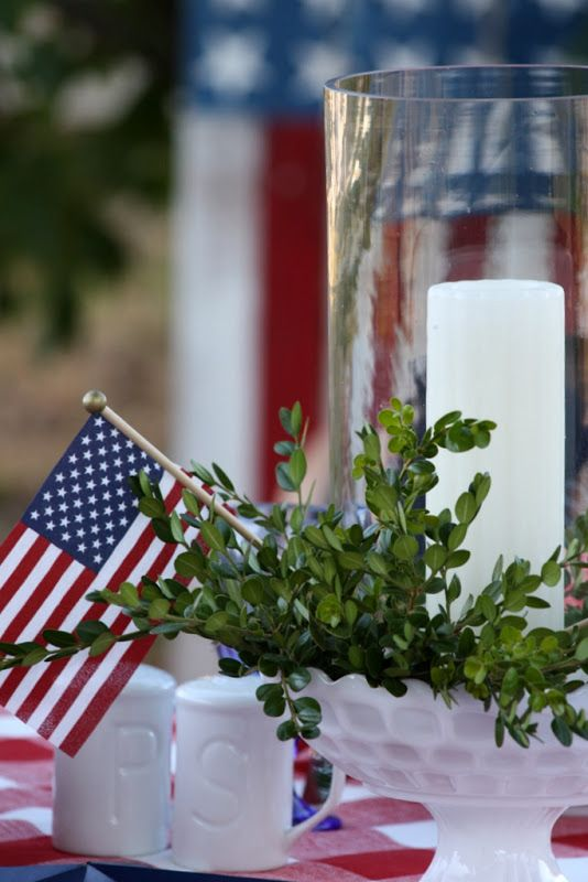 America the beautiful TableScape.../: American Pride, Red White Blue, Patriots Ideas, 4Th Of July, July 4Th, 4Th July, Milk Glasses, Summer Ideas, Beautiful Tablescapes
