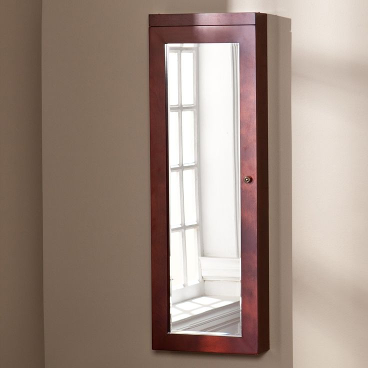 Southern Enterprises Hastings Lighted Jewelry Mirror Armoire - Cherry   from hayneedle.com