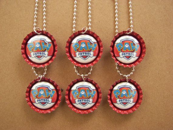 Paw Patrol Bottle Cap Birthday Party Favors Necklace Zipper Pull Magnet Set