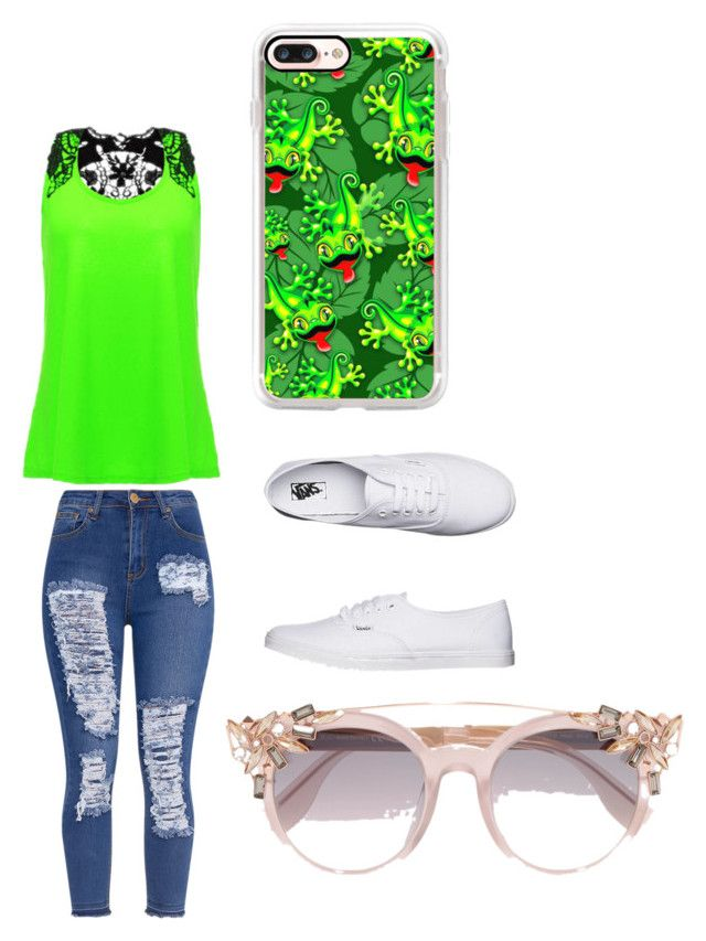 """""""oc"""" by maddisyn-morales ❤ liked on Polyvore featuring Vans, Casetify and Jimmy Choo"""