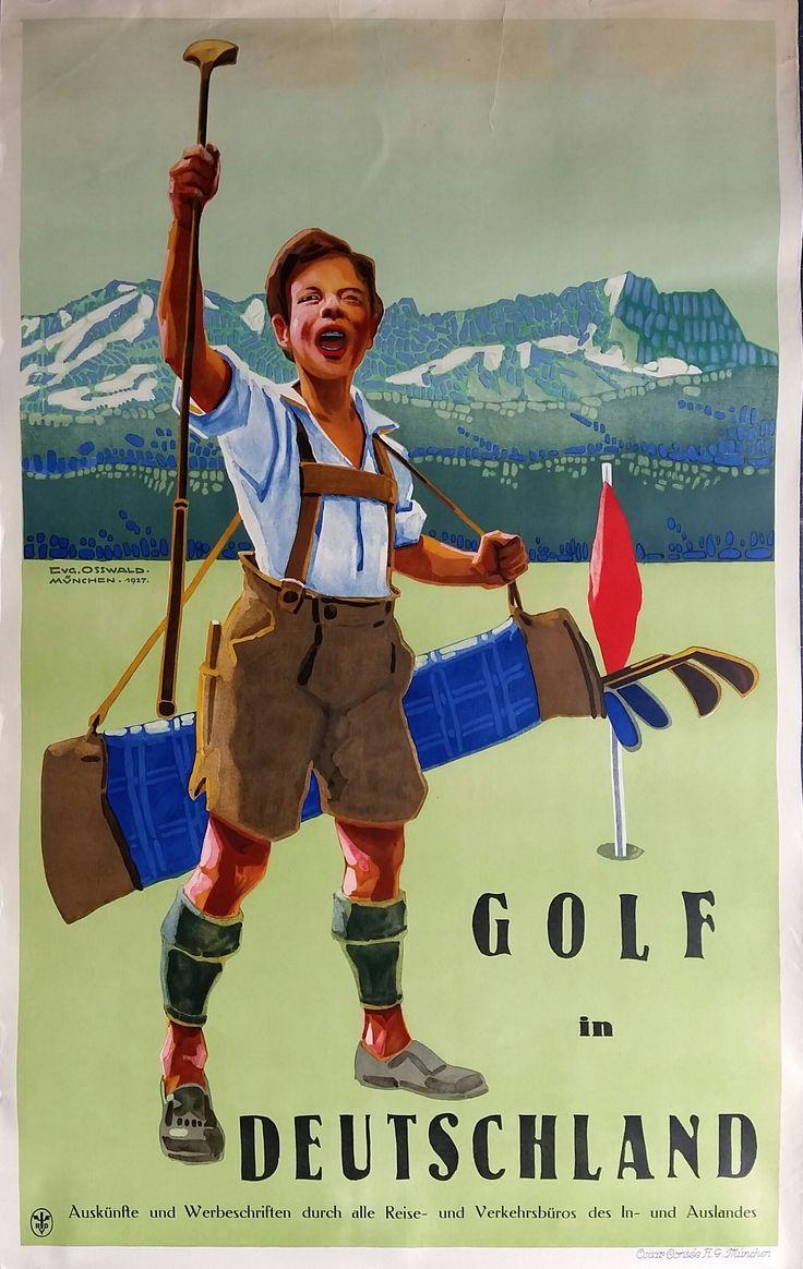 Original+vintage+poster+Golf+in+Deutschland+-+Eugen+OSSWALD