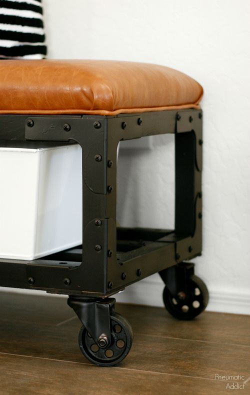 Build an easy, industrial style, upholstered bench/ottoman with FREE building plans.