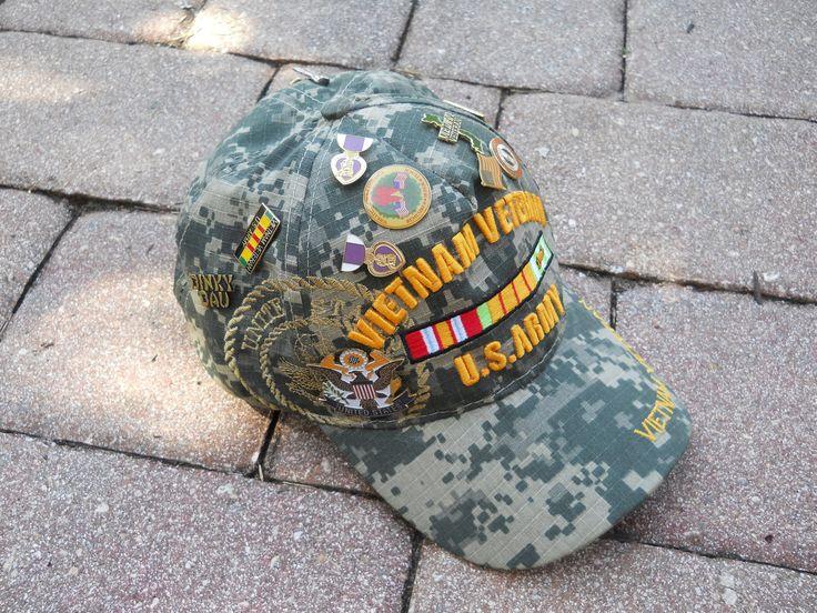 Vintage Pins on a Vietnam Veteran Hat by CharleysRoses on Etsy