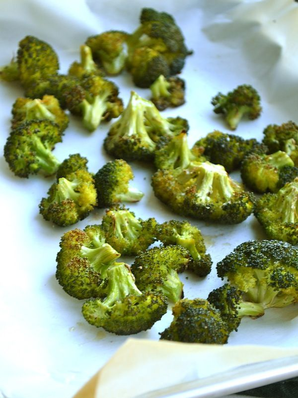 This is our favorite way to eat broccoli of all time! My husband says he would rather eat this than fries. I put a few tbsp of olive oil in a ziploc with some salt and pepper and the broccoli and shake. Then spread on a cookie sheet and spread minced garlic over it and bake.