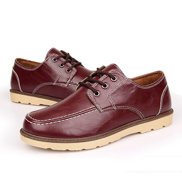 Lace Up Round Toe Casual Flat Shoes For Men - US$29.98