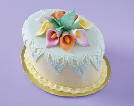 Basket Weave Birthday Cake With Calla Lilies