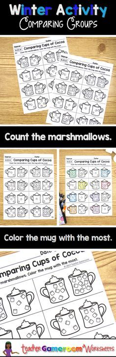 Practice counting and comparing skills with this fun, NO PREP winter-themed printable worksheet. Count each pair of mugs, then color the mug that has the most marshmallows. Great for a guided math center or rainy day activity.  Answer key included. CCSS a