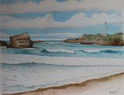 tableau marine biarritz marine ocean vague : La plage de Miramar