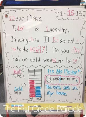 """Example from her morning routine: """"The Daily Dish"""" {The First Grade Parade Blog}"""