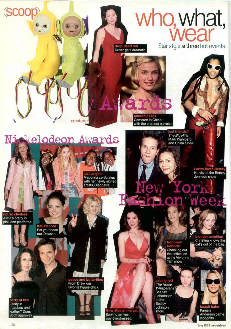 July 1998 Scott Wolf, Mira Sorvino, Scarlett Johansson, Pamela Anderson, Cameron Diaz, Christina Ricci, Alicia Silverstone, Madonna, Katie Holms
